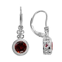 Sterling Silver Garnet and Lab-Created White Sapphire Drop Earrings, Red