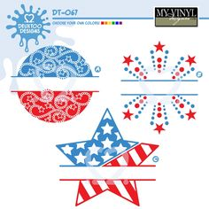 #myvinyldesigner #deuxtoodesigns 4th of July / Patriotic / America circular frames! Stars and swirls split frame, Firework and Stars split frame, US flag frame with stars with stars and stripes. Perfect for vector, vinyl, cricut, silhouette, SVG, GSD! Digital download!