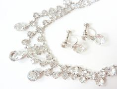 Vintage 1910s White Gold Crystal Set with by PopAndGlamVintage