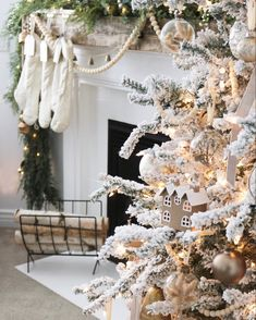 Christmas decor ideas, christmas tree, flocked tree, christmas decor