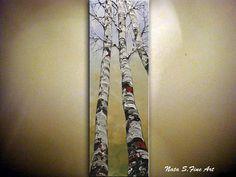 Original Modern Birch Tree Painting Autumn Birch Forest