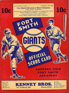 Andrews Field Score Card by Andrews Field, via Flickr - Fort Smith, Arkansas Fort Smith Arkansas, Steel Companies, My Heritage, Vintage Photographs, Scores, Make Me Smile, Growing Up, History, Museum
