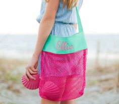 Hot Pink Monogrammed Shell Tote  Monogram Shell Tote Bag