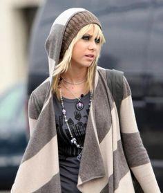 Striped hooded cardigan, Jenny #gossipgirl
