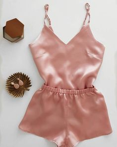 Soft and sexy lingerie for her. Knickers and camisole. Cute Lazy Outfits, Crop Top Outfits, Sleepwear Women, Pajamas Women, Satin Pyjama Set, Pajama Set, Simple Cocktail Dress, Loungewear Outfits, Cute Clothes For Women
