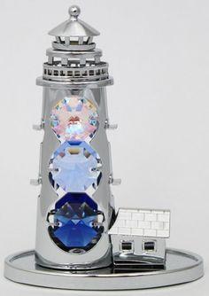 Leuchtturm Figur / Statue silberfarben MADE WITH SWAROVSKI ELEMENTS - premium-kristall