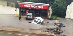 #WTFPGH: Car Falls Into Sinkhole at Hollywood Tans on McKnight Road in Boring Pittsburgh