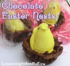 Chocolate Easter Nests are easy to make - you can have the kiddos help or surprise them on Easter morning with these sweet treats. Super cute and you can mix and match different colors of Peeps based on their favorites. Chocolate Easter Nests, Whole Food Recipes, Cooking Recipes, Melting Chocolate Chips, Melt Chocolate, Peanut Butter Chips, Candy Melts, Easter Treats, Desert Recipes