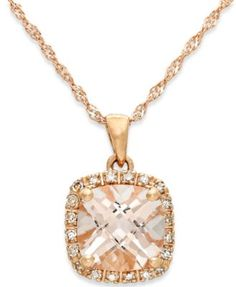 Morganite (1-1/4 ct. t.w.) and Diamond Accent Pendant Necklace in 14k Rose Gold