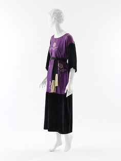 "Embroidered purple silk and velvet ""La Rose d'Iribe"" dress, by Paul Poiret, French, 1913. Textile by Raoul Dufy."