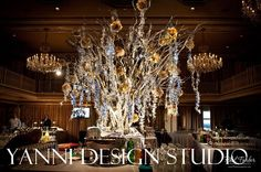 Wedding reception decoration in chicago with large tree in hotel foyer with large rose touches, hanging crystals and up lighting Wedding Table Centerpieces, Wedding Reception Decorations, Floral Centerpieces, Tree Wedding, Wedding Place Cards, Wedding Flowers, Wedding Bells, Luxury Wedding Decor, Dendrobium Orchids