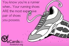 I love running, I do cross country and track. I think this describes running a lot. Shoes are very expensive especially for running, when they work good you know they are a good pair. Sport Motivation, Fitness Motivation, Fitness Quotes, Fitness Humour, Gym Humour, I Love To Run, Run Like A Girl, Just Run, Running Humor