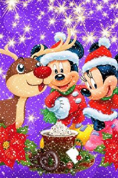 Christmas - Disney - Mickey & Minnie Mouse and Rudolph Disney Merry Christmas, Disney Christmas Decorations, Mickey Mouse Christmas, Mickey Mouse And Friends, Mickey Minnie Mouse, Christmas Art, Walt Disney, Disney Fun, Mickey Mouse Pictures