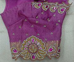 Pattu blouse hand with maggam work butti 91 9866583602 whatsapp no 7702919644