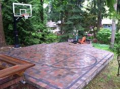 35 of The Best Backyard Court Ideas: is Pretty Cool! Backyard Playground, Backyard Patio, Backyard Landscaping, Backyard Ideas, Concrete Backyard, Backyard Decorations, Large Backyard, Landscaping Ideas, Outdoor Spaces