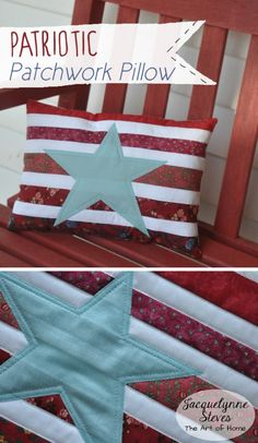 Patriotic Patchwork Pillow can be made in under 2 hours! Fun and cute scrap project for Fourth of July or Canada Day. Also has Canadian maple leaf applique which can be used instead of star. Free pattern by Jacquelynne Steves