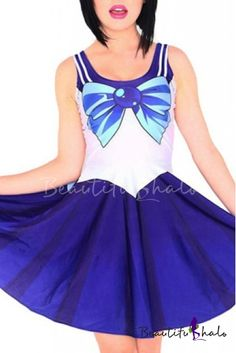 d3555fb1dd Cartoon Cosplay Bow Print Tank Skater Dress