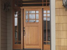 Rogue Valley Entry Door 4697 - Shown in Fir, Sidelight: 4708, Transom: 6710-C