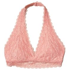 Hollister Lace Halter Bralette With Removable Pads (21 CAD) ❤ liked on Polyvore featuring intimates, bras, bra, bralettes, tops, lingerie, underwear, pink lace, wireless padded bra and pink lace bra