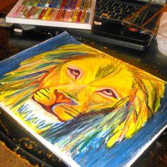 Multicolor oil pastel lion