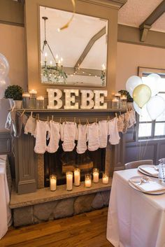 Decor at a jungle baby shower party! See more party ideas at CatchMyParty.com!