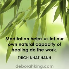 """""""Meditation helps us let our own natural capacity of healing do the work."""" - Thich Nhat Hanh Love & light, Deborah"""