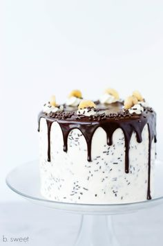 Banoffee Cake with Dark Chocolate Ganache Drizzle — b. sweet