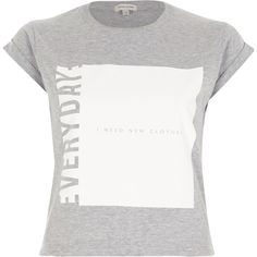 Checkout this Grey slogan print boxy cropped fitted t-shirt from River Island