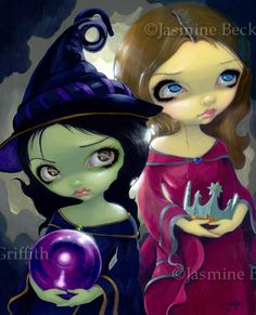 Wicked Witch and Glinda fantasy Wizard of Oz art by strangeling, $13.99