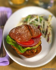 Craving a better veggie burger? Try this Sweet Potato Tofu Burger, which gets its meaty texture from brown rice and tofu, Wholeliving.com #healthy #lunches