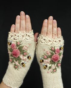 Knitted Fingerless Gloves Ivory Roses Rose Pastel Pink Bees Clothing And A Knitted Fingerless Gloves Ivory Roses Rose Pastel Pink Bees Clothing And Accessories Gloves Fingerless Gloves Knitted, Crochet Gloves, Knit Crochet, Crochet Granny, Laine Rowan, Rose Pastel, Ivory Roses, Pink Roses, Knitting Accessories