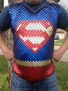Supergirl/ Superman Scale Maille shirt, includes attached scale cape - For Gareth