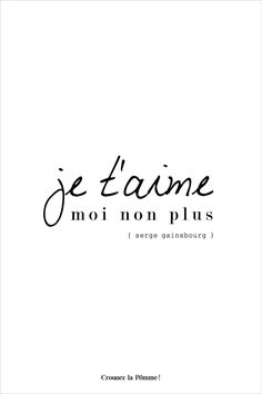 """Carte à télécharger sur le site Croquez la pomme ! Chanson """"Je t'aime moi non plus"""" - Serge Gainsbourg et Jane Birkin - Jolis mots - Jolies typos #lovecard #fontcard"""