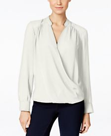 INC International Concepts Long-Sleeve Surplice Blouse, Only at Macy's