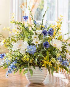 Magnolia, Larkspur & Daisy Silk Flower Arrangement