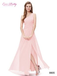 Elegant Pink One Shoulder Slitted Ruched Long Evening Dress - Ever-Pretty US