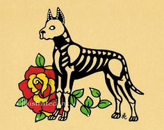 Day of the Dead Dog GREAT DANE Dia de los by illustratedink, $10.00