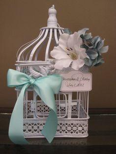 White Bird Cage Wedding Card Holder Vintage Style / Wedding Card Holder Birdcage / Wedding Birdcage. $45.00, via Etsy.