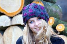 Organic wool hat dark grey with violet floral pattern by 8natur, $39.50