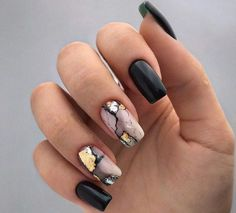 99 Brilliant Fall Nail Art Designs Ideas To Try In 2019 | Nail stickers Nail stickers is the latest trend in nail decoration. These are sold everywhere in the market and are available in various designs and p... Matte Black Nails, Black Nail Art, Gold Nails, Gold Nail Designs, Fall Nail Art Designs, Nails Design, Gel Nagel Design, Long Nail Art, Nagellack Trends