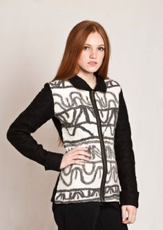 Ethnic modern Cardigan felted stripe design in black by texturable, $230.00