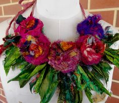 OOAK  Recycled Sari Silk  Rosette Statement Necklace by plumfish, $40.00