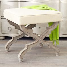 Wisteria - Furniture - Poufs & Stools -  X-Base Stool - Cream - $299.00  Cover two in some surprising fabric