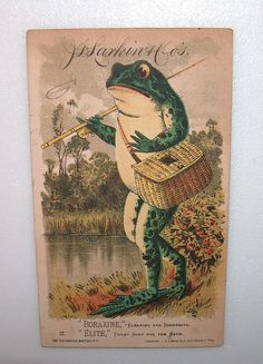 ANTIQUE VICTORIAN TRADE CARD BORAXINE TOILET SOAP FROG GONE FISHING POLE & KREEL #BORAXINETOILETSOAP
