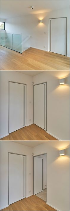 Modern custom-made interior doors with a minimal aluminium door frame and a built-in handle.