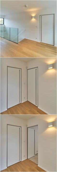 Moderne blokdeuren op maat van Anyway Doors met een verticale inbouwhandgreep. #anywaydoors #blokdeur #blokdeuren