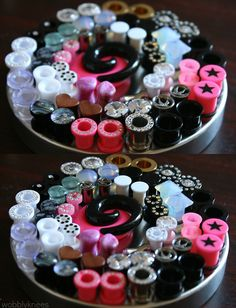 Plugs and tunnels, NOT gauges! Looks like a communion tray lol