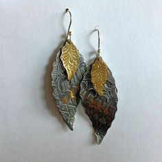 Bold Tribal Silver and 24k Gold Earrings by LindaMackSilver