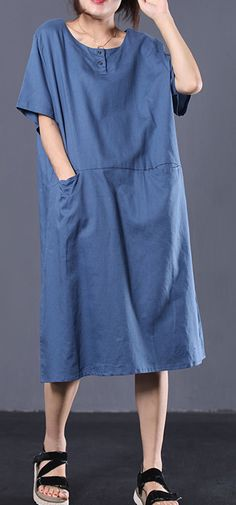 French o neck linen clothes For Women Work Outfits blue Dresses summer - Work Outfits Women Summer Dress Outfits, Casual Summer Dresses, Summer Dresses For Women, Summer Maxi, Casual Outfits, Chiffon, Burgundy Dress, Blue Dresses, Clothes For Women