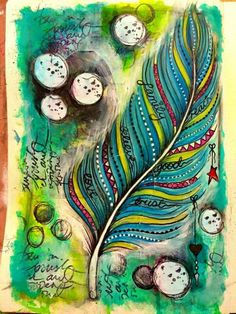 art journal feather, this is lovely!
